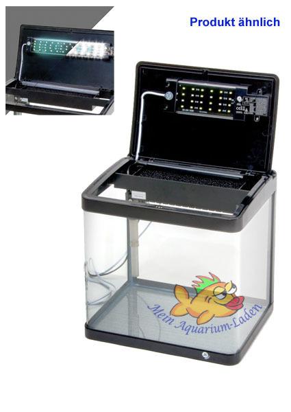 Brandneu schwarz Glas-Aquarium Komplett-Set 21 l LED-Beleuchtung und Filter  DG57